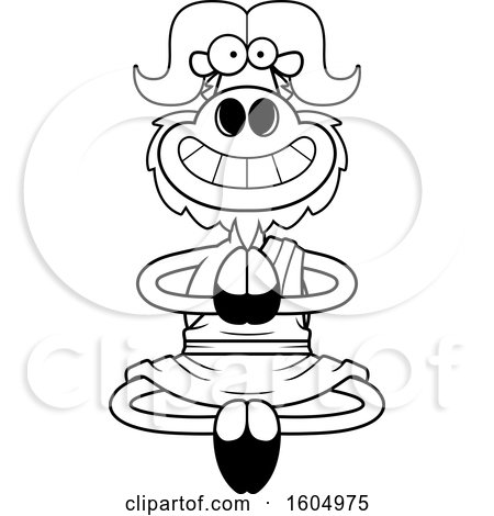Clipart of a Cartoon Black and White Meditating and Grinning Zen Ox - Royalty Free Vector Illustration by Cory Thoman