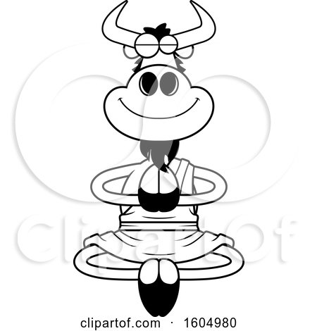Clipart of a Cartoon Black and White Meditating Zen Wildebeest - Royalty Free Vector Illustration by Cory Thoman