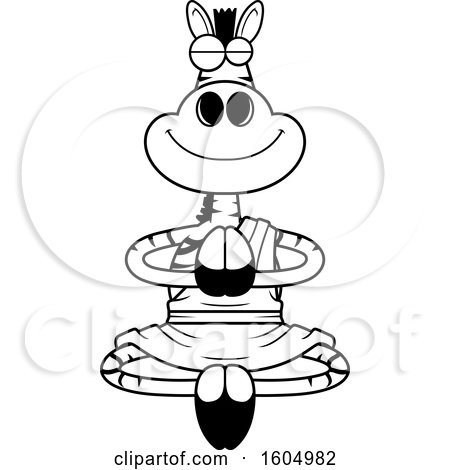 Clipart of a Cartoon Black and White Meditating Zen Zebra - Royalty Free Vector Illustration by Cory Thoman