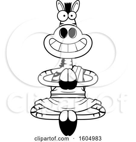 Clipart of a Cartoon Black and White Meditating and Grinning Zen Zebra - Royalty Free Vector Illustration by Cory Thoman