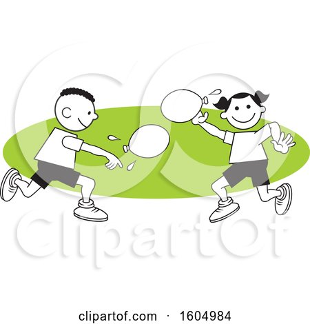 Clipart of a Boy and Girl Throwing a Water Balloons on Field Day over a Green Oval - Royalty Free Vector Illustration by Johnny Sajem