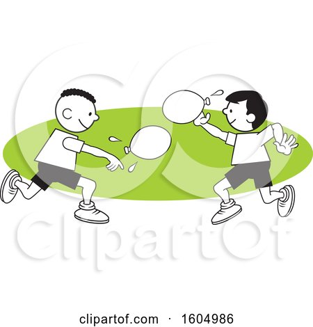 Clipart of Boys Throwing a Water Balloons on Field Day over a Green Oval - Royalty Free Vector Illustration by Johnny Sajem