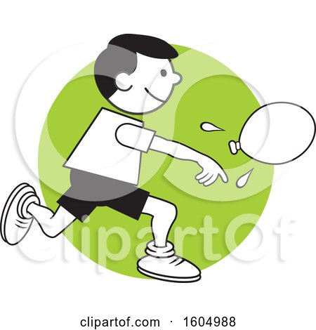 Clipart of a Boy Throwing a Water Balloon on Field Day over a Green Circle - Royalty Free Vector Illustration by Johnny Sajem