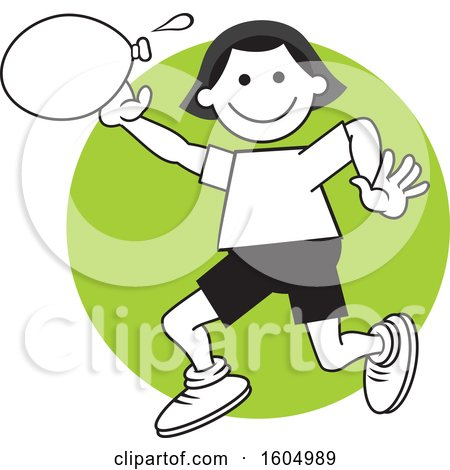 Clipart of a Girl Throwing a Water Balloon on Field Day over a Green Circle - Royalty Free Vector Illustration by Johnny Sajem
