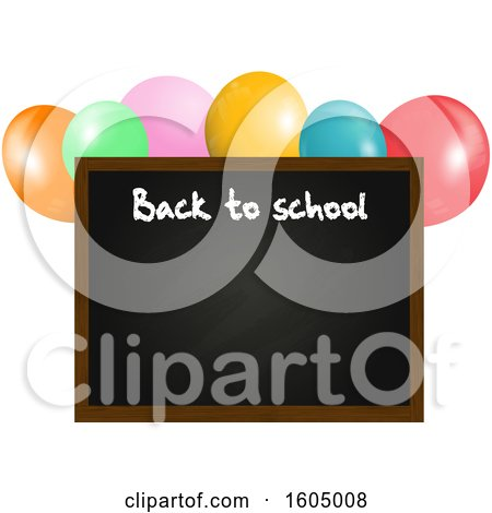 Clipart of a 3d Back to School Blackboard Floating with Balloons - Royalty Free Vector Illustration by elaineitalia