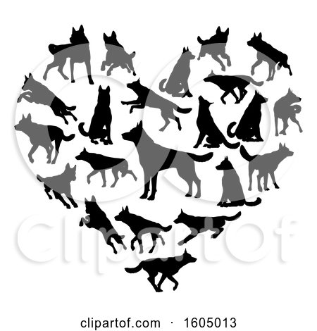 Clipart of a Heart Made of Silhouetted Dogs - Royalty Free Vector Illustration by AtStockIllustration