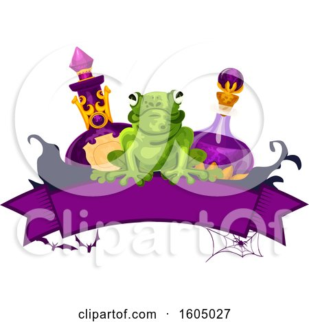 Clipart of a Halloween Banner with a Frog and Potion Bottles - Royalty Free Vector Illustration by Vector Tradition SM