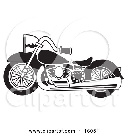 Black and White Motorcycle Clipart Illustration by Andy Nortnik
