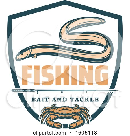 Clipart of a Fishing Bait and Tackle Crab and Eel Design - Royalty Free Vector Illustration by Vector Tradition SM