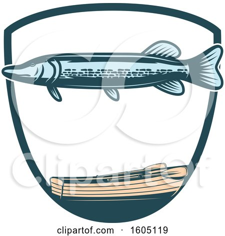 Clipart of a Fishing Pike and Boat Design - Royalty Free Vector Illustration by Vector Tradition SM