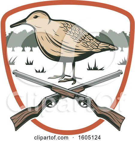 Clipart of a Bird Hunting Design with Rifles in a Shield - Royalty Free Vector Illustration by Vector Tradition SM