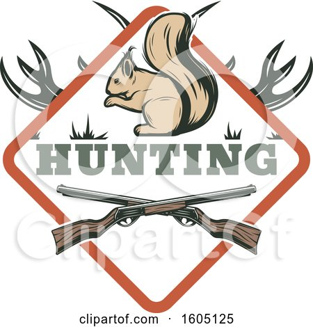 Clipart of a Hunting Design with Rifles Antlers and a Squirrel in a Diamond - Royalty Free Vector Illustration by Vector Tradition SM
