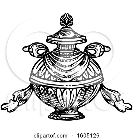 Clipart Of A Sketched Black And White Buddhist Bumpa Treasure Vase