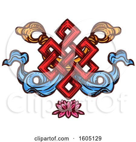 Clipart of a Sketched Buddhist Eternal Knot over a Lotus Flower - Royalty Free Vector Illustration by Vector Tradition SM