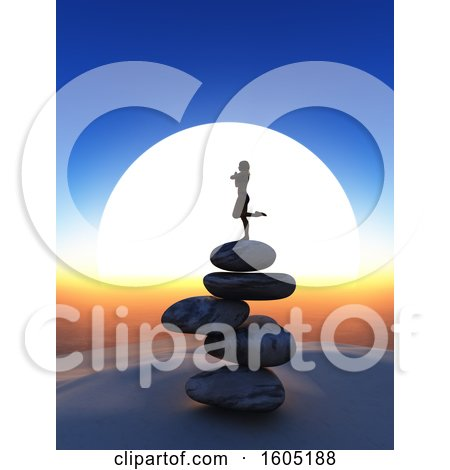 Clipart of a 3d Silhouetted Woman Balanced in a Yoga Pose on Rocks Against a Sunset - Royalty Free Illustration by KJ Pargeter