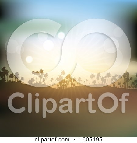 Clipart of a Silhouetted Hill with Palm Trees and a Sunset Sky - Royalty Free Vector Illustration by KJ Pargeter