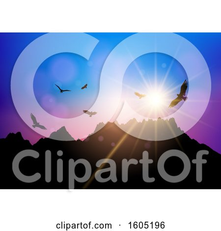 Clipart of a Silhouetted Mountainous Landscape with Birds at Sunset - Royalty Free Vector Illustration by KJ Pargeter