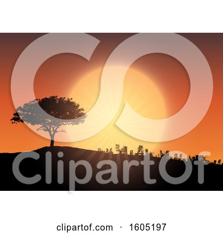 Clipart of a Silhouetted Hill with a Tree and Plants Against an Orange Sunset Sky - Royalty Free Vector Illustration by KJ Pargeter