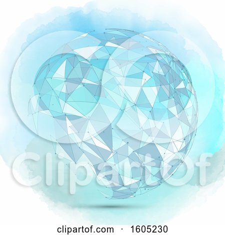 Clipart of a Watercolor Geometric Sphere with Connections - Royalty Free Vector Illustration by KJ Pargeter