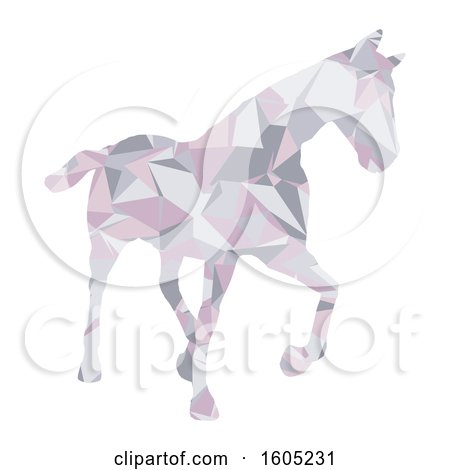 Clipart of a Low Poly Geometric Horse on a White Background - Royalty Free Vector Illustration by KJ Pargeter