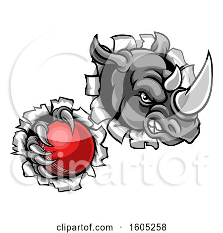 Clipart of a Tough Rhino Monster Mascot Holding a Cricket Ball in One Clawed Paw and Breaking Through a Wall - Royalty Free Vector Illustration by AtStockIllustration