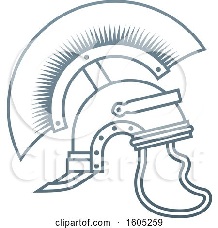 Clipart of a Gray Trojan Spartan Helmet - Royalty Free Vector Illustration by AtStockIllustration