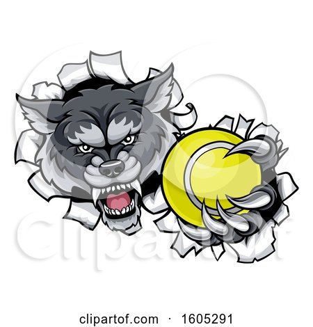 Clipart of a Tough Wolf Monster Mascot Holding out a Tennis Ball in One Clawed Paw and Breaking Through a Wall - Royalty Free Vector Illustration by AtStockIllustration
