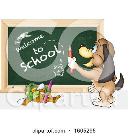 Clipart of a Bug and Dog with a Back to School Chalkboard - Royalty Free Vector Illustration by dero