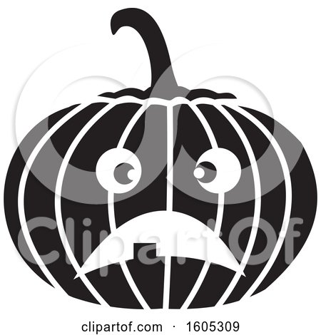 Clipart of a Black and White Unhappy Halloween Jackolantern Pumpkin - Royalty Free Vector Illustration by Johnny Sajem