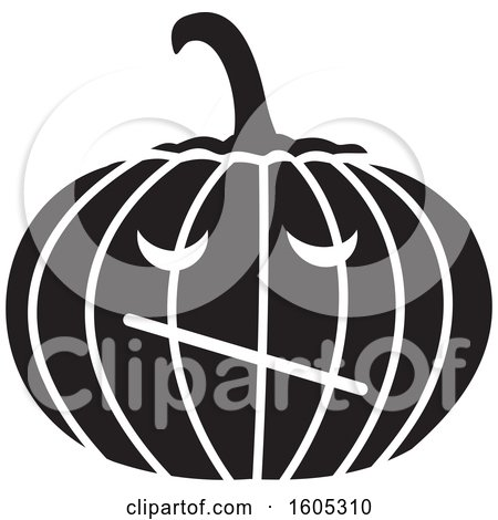Clipart of a Black and White Skeptical Halloween Jackolantern Pumpkin - Royalty Free Vector Illustration by Johnny Sajem