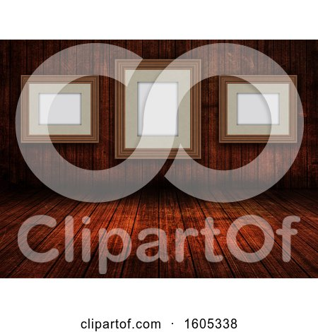 Clipart of a 3D Wooden Room Interior with Blank Picture Frames - Royalty Free Illustration by KJ Pargeter