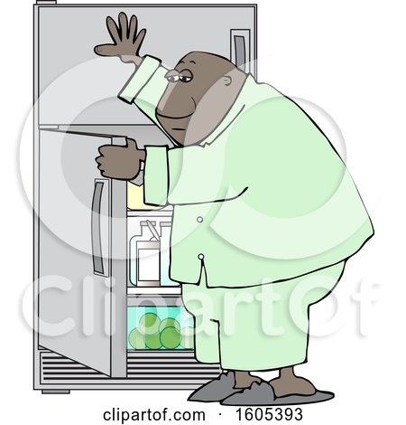 Clipart of a Cartoon Black Man Looking for Something to Eat in the Fridge - Royalty Free Vector Illustration by djart