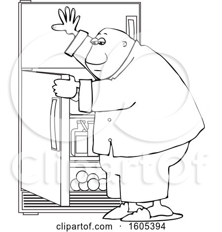Clipart of a Cartoon Lineart Black Man Looking for Something to Eat in the Fridge - Royalty Free Vector Illustration by djart