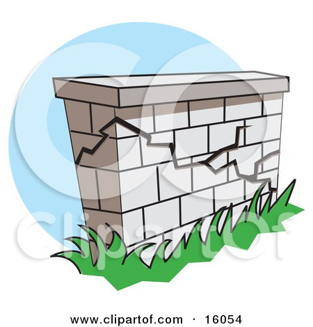 Crumbling Wall Clipart Illustration by Andy Nortnik