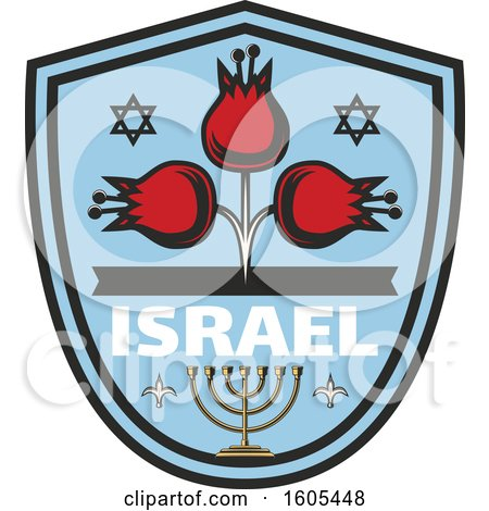 Clipart of a Shield with Israel Text with a Menorah and Flowers - Royalty Free Vector Illustration by Vector Tradition SM