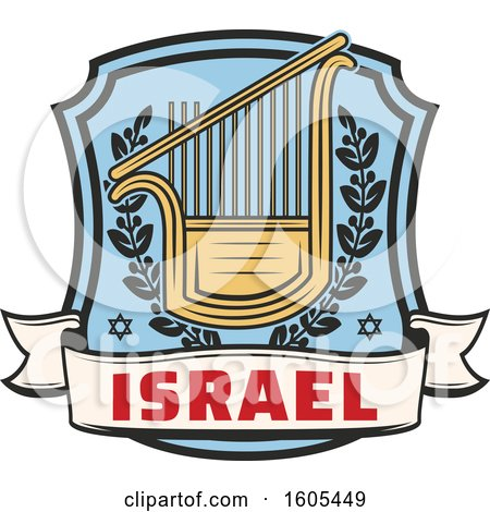 Clipart of a Shield with Israel Text and a Lyre - Royalty Free Vector Illustration by Vector Tradition SM