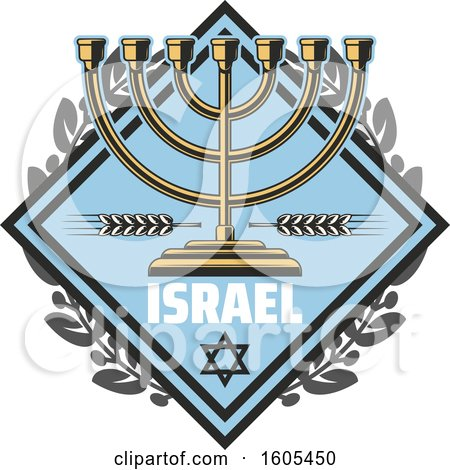 Clipart of a Diamond with Israel Text and a Menorah - Royalty Free Vector Illustration by Vector Tradition SM