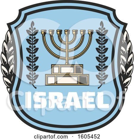 Clipart of a Shield with Israel Text and a Menorah - Royalty Free Vector Illustration by Vector Tradition SM