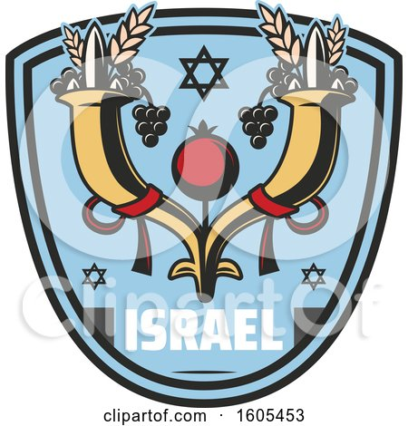 Clipart of a Shield with Israel Text - Royalty Free Vector Illustration by Vector Tradition SM