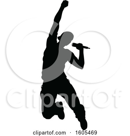 Clipart of a Silhouetted Male Singer - Royalty Free Vector Illustration by AtStockIllustration