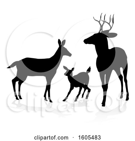 Clipart of a Black Silhouetted Deer Family, with a Shadow on a White Background - Royalty Free Vector Illustration by AtStockIllustration