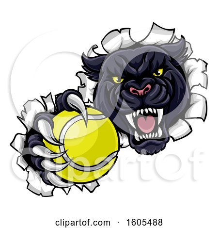 Clipart of a Black Panther Mascot Breaking Through a Wall with a Tennis Ball - Royalty Free Vector Illustration by AtStockIllustration