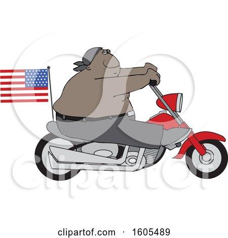 Cartoon Shirtless Patriotic Black Male Biker with an American Flag Posters, Art Prints