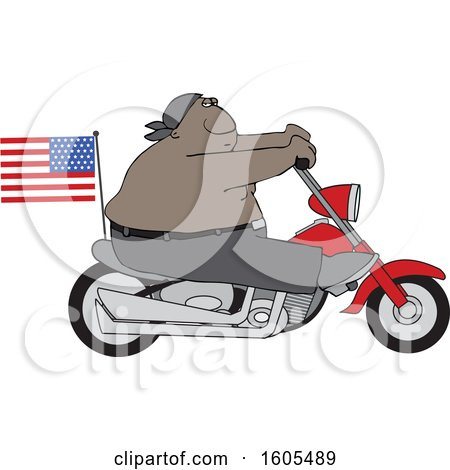 Clipart of a Cartoon Shirtless Patriotic Black Male Biker with an American Flag - Royalty Free Vector Illustration by djart