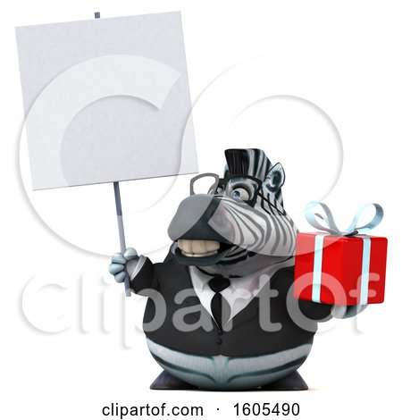 Clipart of a 3d Business Zebra Holding a Gift, on a White Background - Royalty Free Illustration by Julos