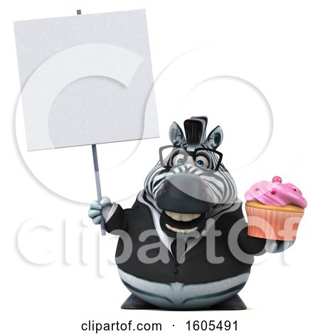 Clipart of a 3d Business Zebra Holding a Cupcake, on a White Background - Royalty Free Illustration by Julos