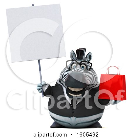 Clipart of a 3d Business Zebra Holding a Shopping Bag, on a White Background - Royalty Free Illustration by Julos