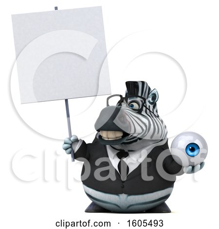 Clipart of a 3d Business Zebra Holding an Eyeball, on a White Background - Royalty Free Illustration by Julos