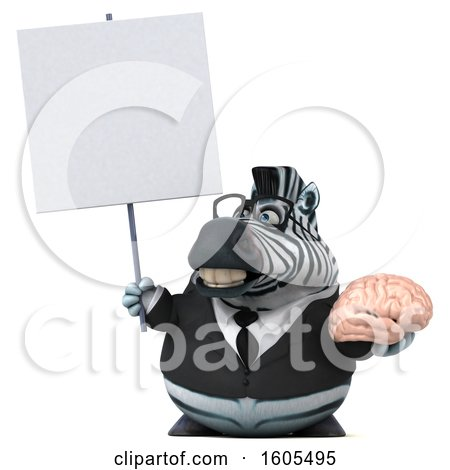 Clipart of a 3d Business Zebra Holding a Brain, on a White Background - Royalty Free Illustration by Julos