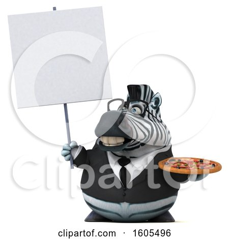 Clipart of a 3d Business Zebra Holding a Pizza, on a White Background - Royalty Free Illustration by Julos
